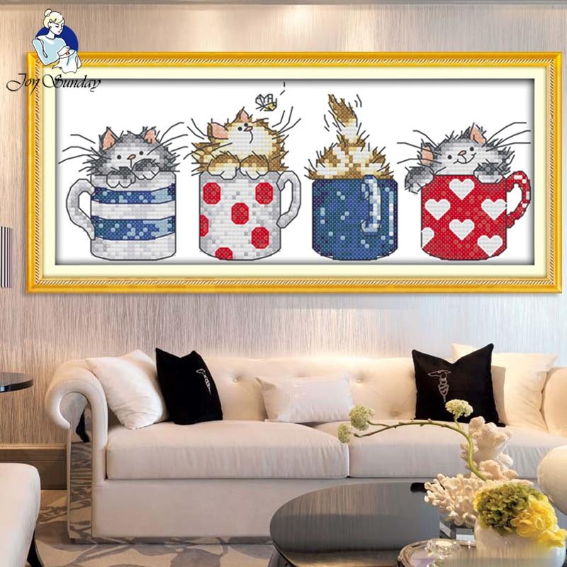 JOY SUNDAY, Vyšívání, DIY DMC křížový steh, sady pro vyšívací soupravu Pohár v kočičí domácí dekoraci Počítaný křížový steh