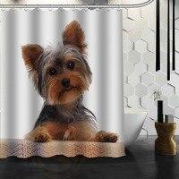 Melhor tela impermeável feita sob encomenda agradável da cortina de banho da cortina do chuveiro dos cães de yorkshire terrier para o banheiro mais tamanho 165x180 cm  180x200 cm Cortinas de chuveiro     -