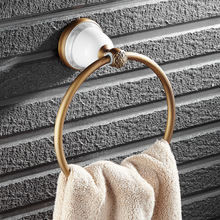 Luxury  Bathroom Towel Ring Rack Brass with Ceramics Towel Holder Euro Style Wall Mounted OB91-04