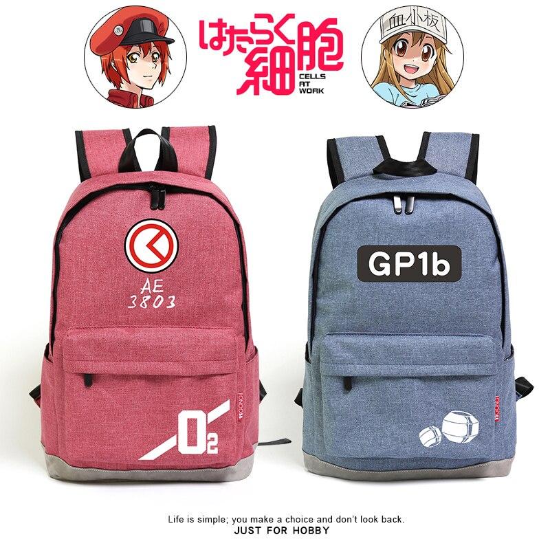 Sac à dos haute qualité unisexe Anime Cos cellules au travail sac à dos Hataraku Saibou blanc cellule de sang et rouge cellule de sang étudiant sac à dos sac d'école