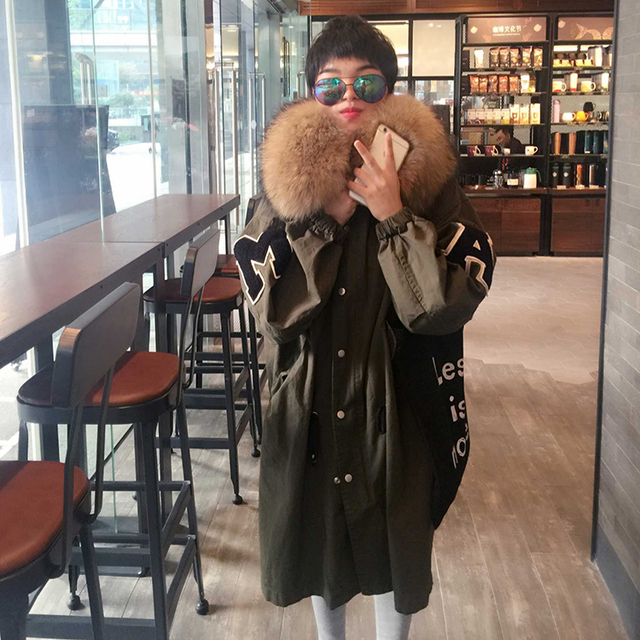 2017 New Arrival Plus Size Warm Winter Parkas With Large Real Raccoon Fur Collar Women's Thick Winter Jacket Outerwear