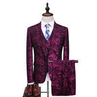 Комплект из трех предметов, костюмы, мужские певцы, сценическое шоу, расшитые пайетками, красный, розовый свадебный костюм, Homme ma 80