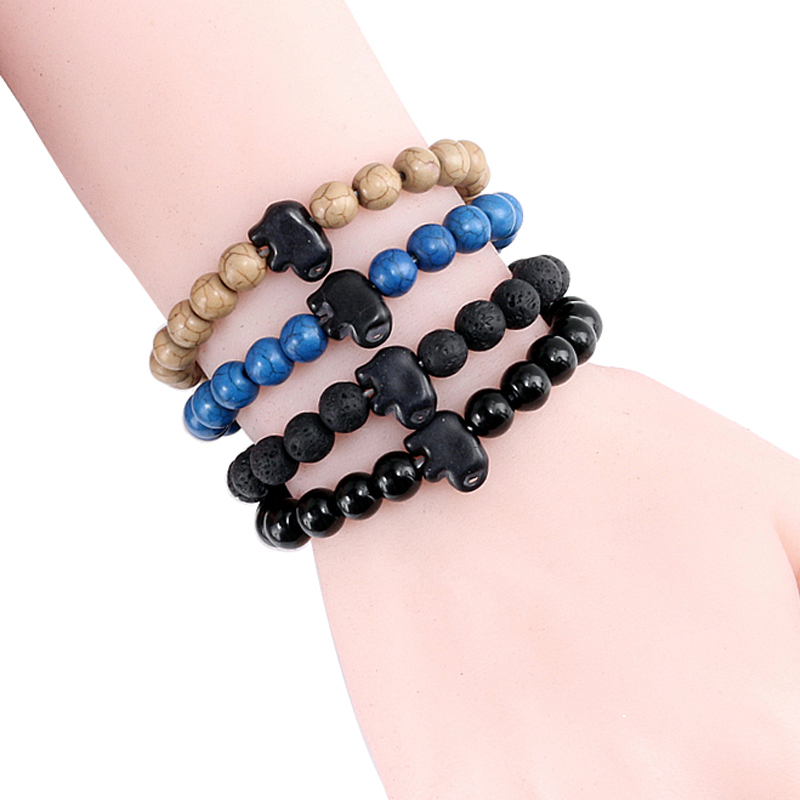 Natural Turquoises stone 8MM Beads Bracelets Elephant Animal Bracelet Bangle Women Handmade Bracelet Men Jewelry Drop Shipping