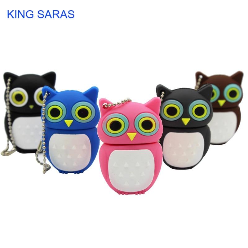 KING SARAS Cartoon Pendrive Black Gary Pink Blue Brown Owl Style Usb Flash Drive Usb 2.0 4GB 8GB 16GB 32GB 64GB Cute Gift