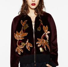 Woman Fashion New 2017 Spring Velvet Cropped Jacket with Floral Embroidery Short Jacket long sleeves zipper front