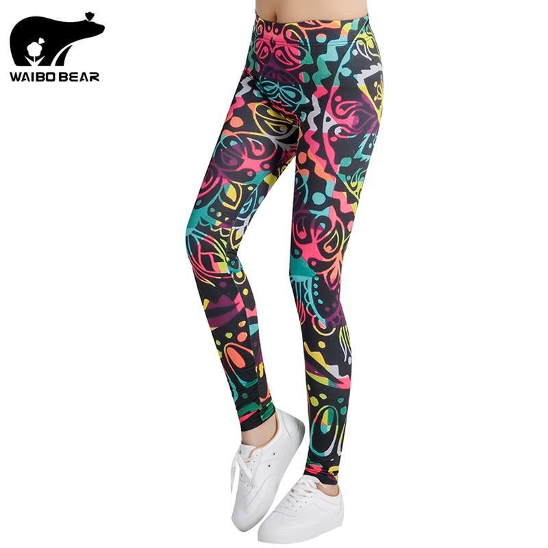 Sexy Printed Leggings Women Skinny Capris Stretch Push Up Pants Workout Female Slim Trousers Pencil Pants Mujer Slim WAIBO BEAR