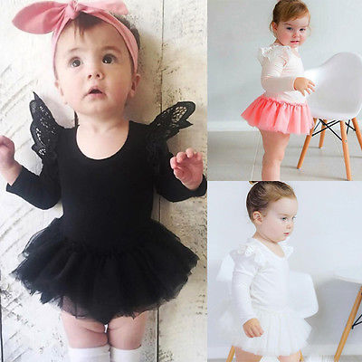 Newborn Kids Cute Baby Girl Infant Long Sleeve Tutu Skirt Romper Jumpsuit Body Tutu Dress Clothes Outfit