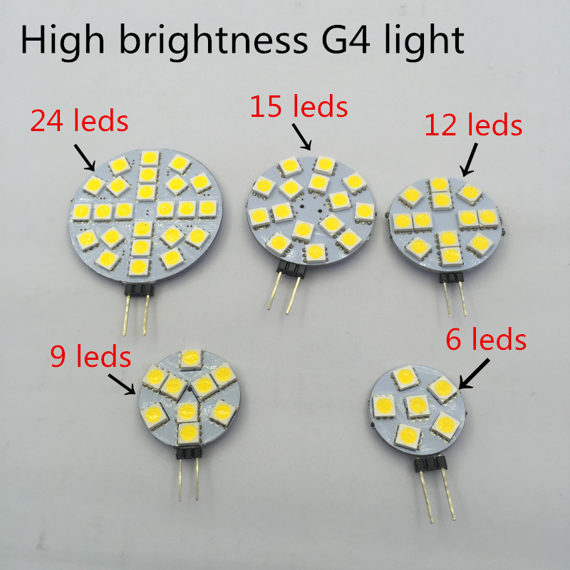Высокая яркость G4 12 В 5050 SMD 1 Вт 2 Вт 3 Вт 4 Вт <font><b>LED</b></font> Автомобилей Лодка Свет Чистого/теплый Белый Лампа