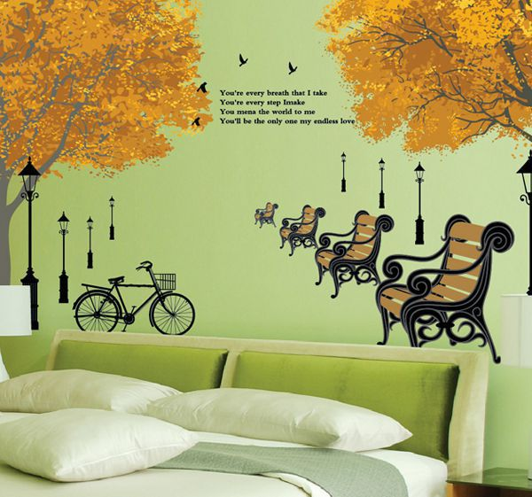 removable golden yellow autumn family tree vinyl wall stickers