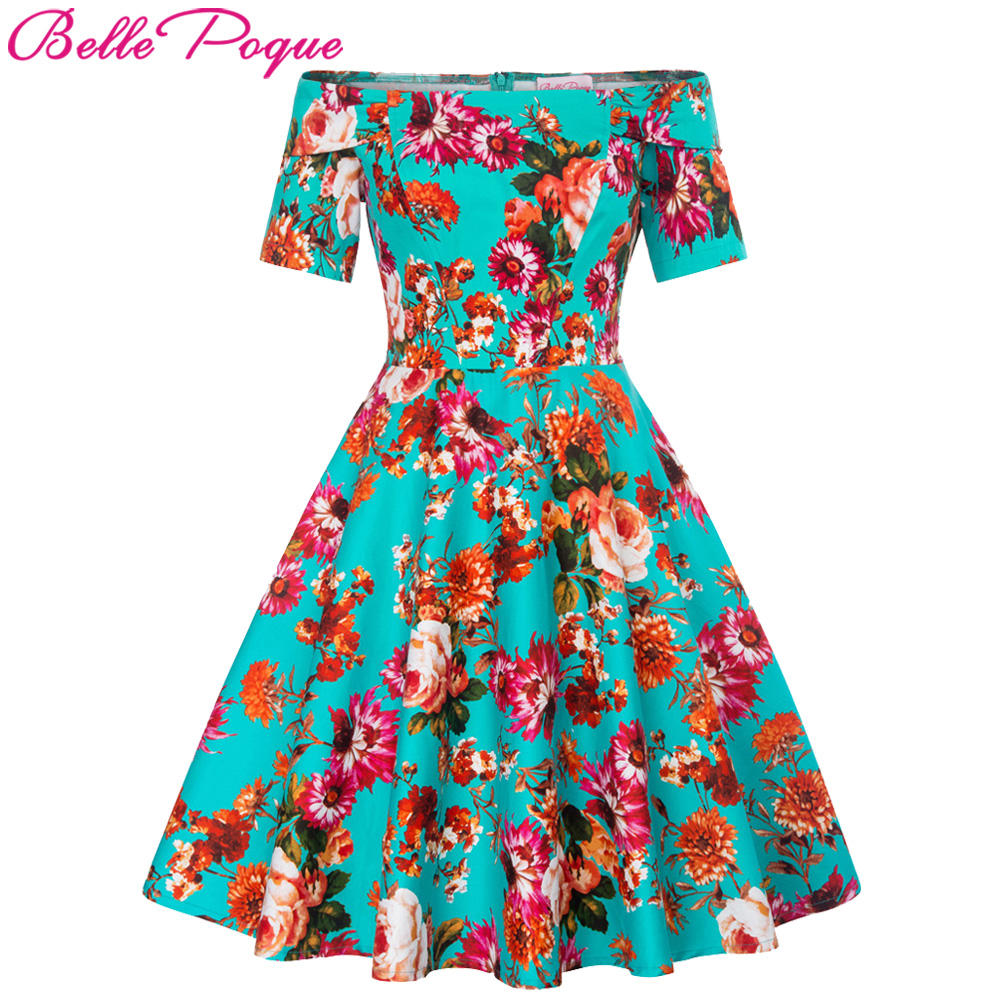 Casual Retro Women Dresses Rinup Rockabilly 50s Vintage Dress Floral ...