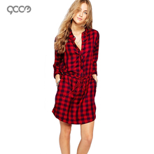 Free Shipping 2016 NEW Women Casual Comfort Fit Tartan Shirt Dress Sleeved Short Vestidos