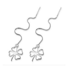 Fashion Jewelry Women s Chain font b Earrings b font Silver color Fringed Clover Pendant font