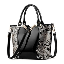 2017 Luxury Sequin Embroidery Women Bag Patent Leather Handbag Diamond Shoulder Messenger Bags Famous Brand Designer Bolso Mujer