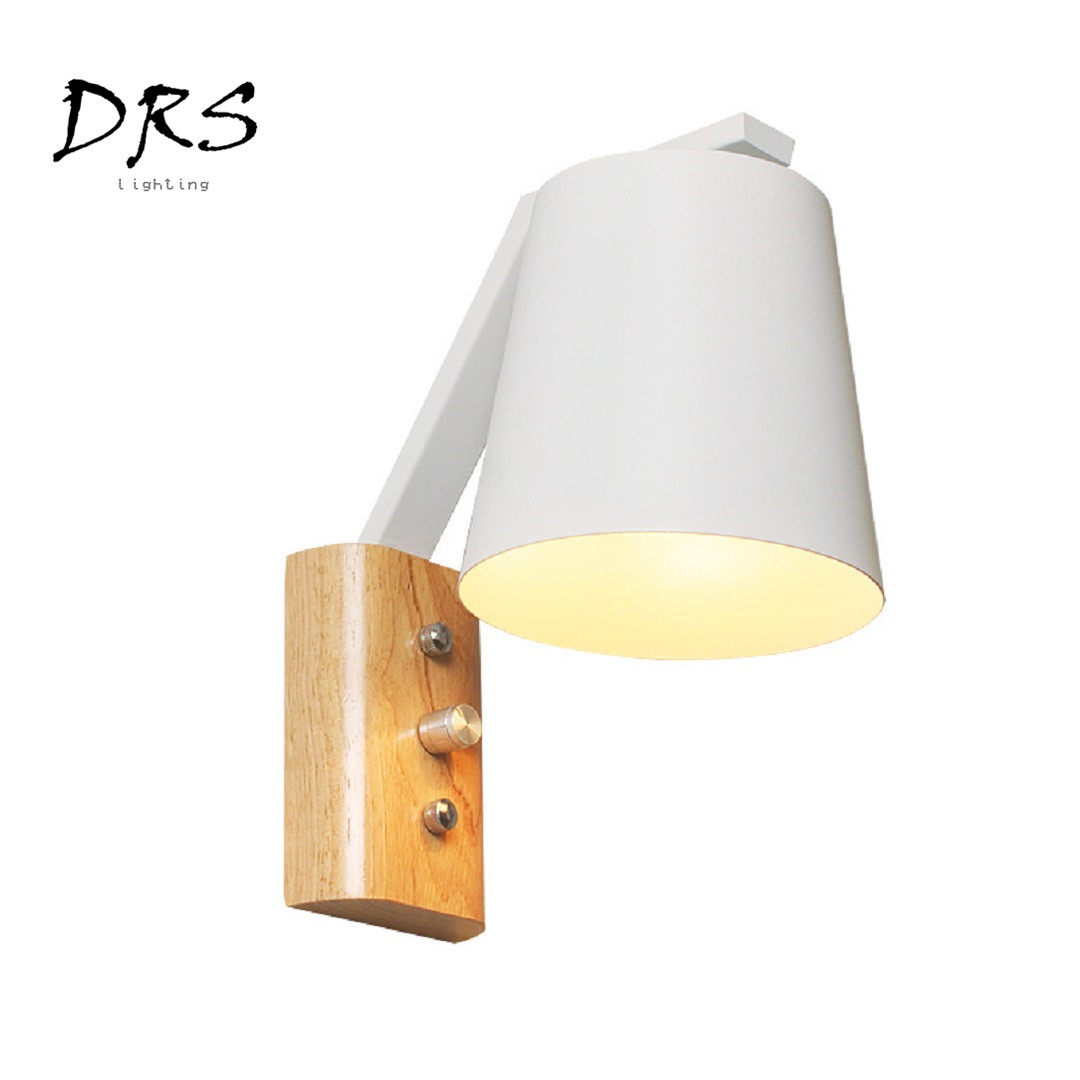 Minimalist Modern Solid Wall Lamp Originality LED Wall Fixed Lights Aisle Bedroom Bedside Living Room Hotel Oak Nordic Wall Lamp