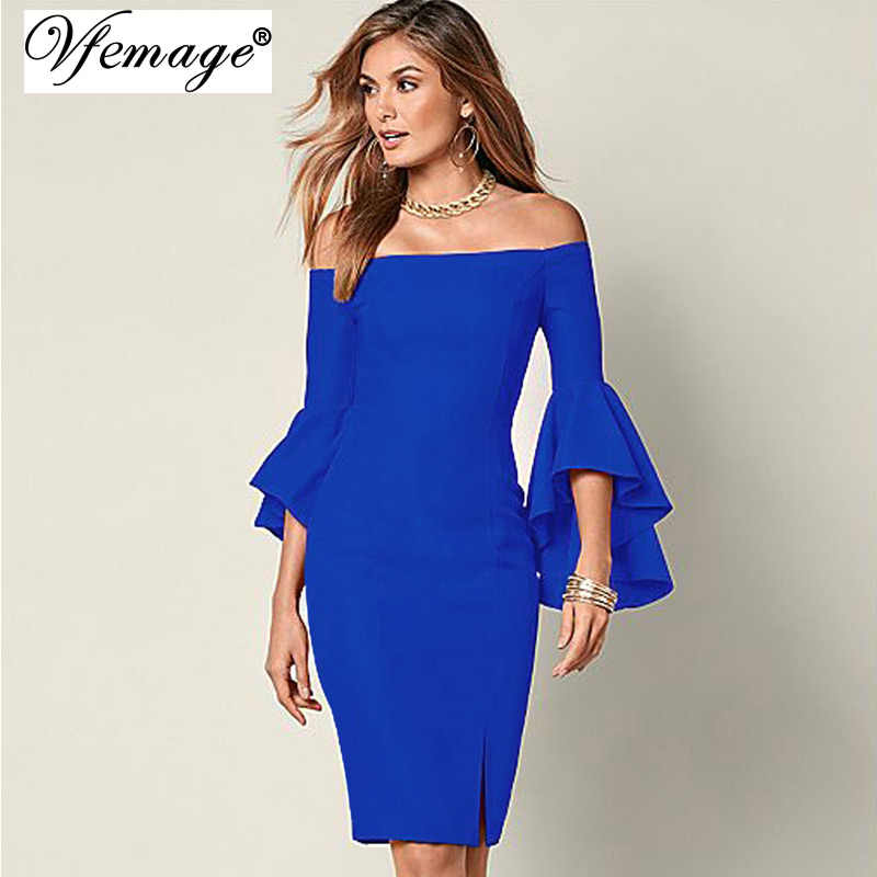 Vfemage Vrouwen Elegante Flare Trompet Mouwen Sexy Off Shoulder Split Vooraan Schede Fashion Slim Casual Party Club Bodycon Jurk 6440