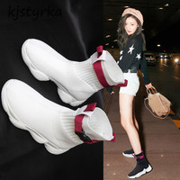 kjstyrka 2018 tenis feminino Woman Sneakers fashion buckle elastic breathable sock high top ladies Non Slip Damping espadrilles