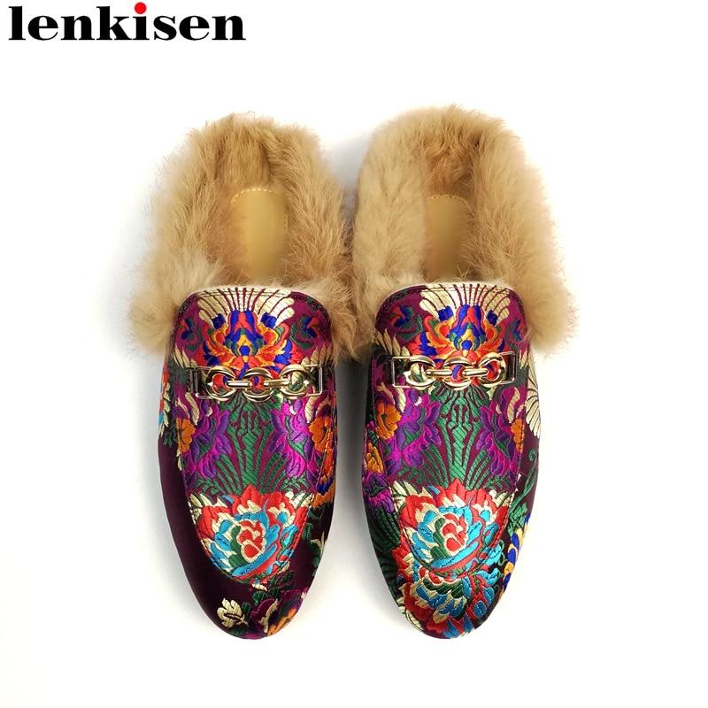 lenkisen 2019 superstar brand big size embroider genuine leather women winter outside slippers slingback slip on