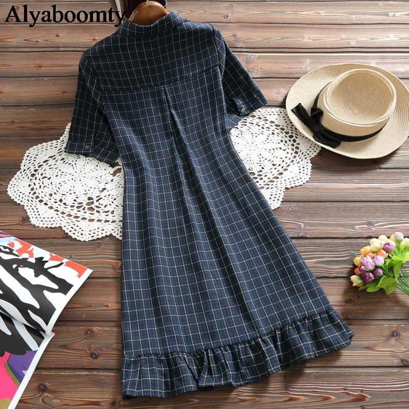 Японский консервативный стиль, летнее женское платье-рубашка, винтажное клетчатое платье с пуговицами и карманами, повседневное мини-платье, элегантное короткое платье с оборками для девочек