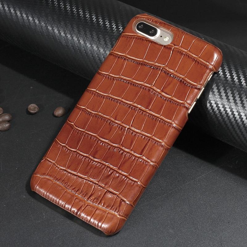 imágenes para Solque Lujo Genuino Cubierta de Cuero Del Caso Para el iphone 7 Fundas Coque delgado Hard Shell para el iphone 7 Plus 3D Cocodrilo patrón