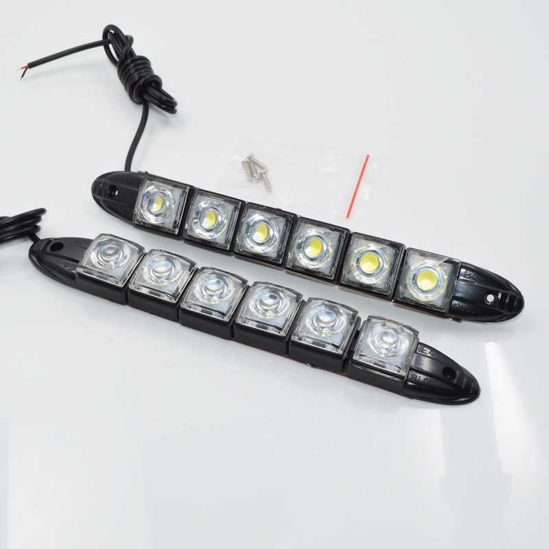 2pcs 12V High Power 6W Bendable 6 LED Waterproof Flexible DRL Daytime Running Light Fog Warning Lamp