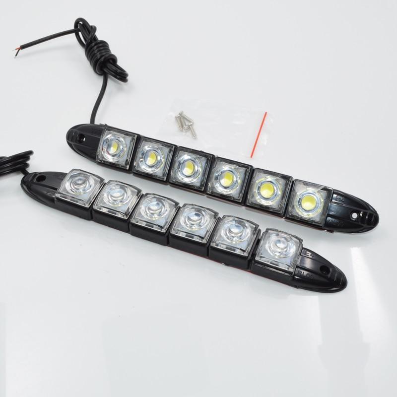 2 Pz 12 V Ad Alta Potenza 6 W Flessibile 6 Led Flessibile Impermeabile Drl Daytime Running Light Fog Avverte La Lampada