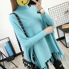 PEONFLY New 2019 Spring Pullovers Sweaters Women Loose Tassel Soft Shawl Turtleneck Solid Bat Long Sleeve Pullover Sweater