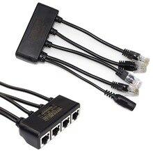 4 In 1 güç Over Ethernet Midspan Splitter anahtarı 10/100mbps IEEE802.3at/af 2A IP kamera Poe splitter