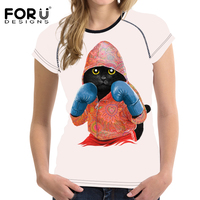 FORUDESIGNS Funny 3D Boxinger Black Cat Printed Summer Women T Shirts White Female Short Sleeve Top