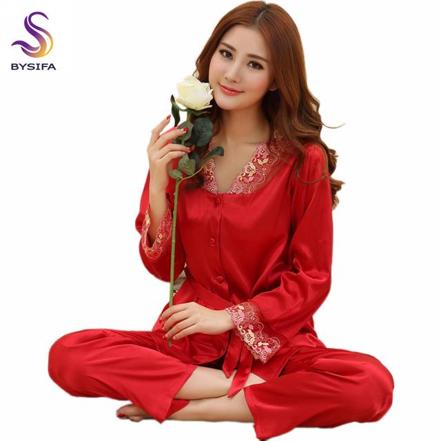 Resorte del Otoño mangas largas de Raso Rojo Chaqueta Bordada ropa de Dormir de Las Mujeres Pijamas de ropa de Dormir de Seda Salón de Seda de Las Mujeres Delgadas conjunto