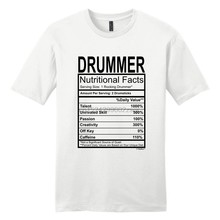 3c78678b Drummer Gift Nutritional Facts Gag Gifts Funny Young Mens Short Sleeve  Cotton T-Shirt For