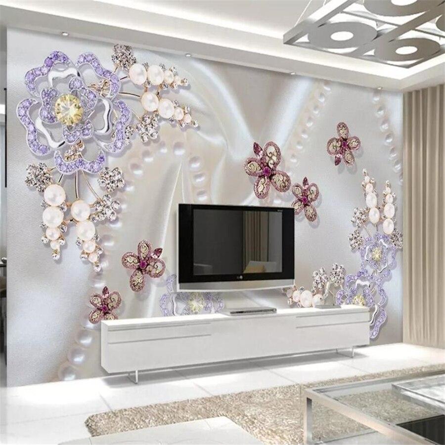 beibehang papier peint personnalise avec perles motifs de fleurs incrustees pour mur derriere tv salon 3d