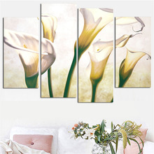 4 Panel Flower Canvas Wall Art Calla Lily Painting