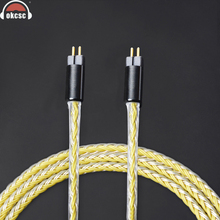 купить OKCSC 0.78mm 2Pin Cable Replacement Earphone Upgrade Cables Tinned Copper Wire Handmade Weave Cord Use For UE18 JH13 16 UM3X дешево