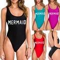 MERMAID Letter Print Bodysuit One-Piece Suits Swimsuit High Waiste leg swimwear Women Monokini Jumpsuit