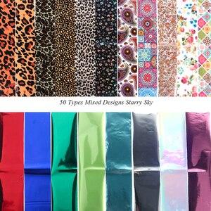 Image 4 - 50 種類の混合デザイン星空ネイル箔セット花レース転送スライダー紙粘着デカール Diy のネイルアートの装飾 LE921