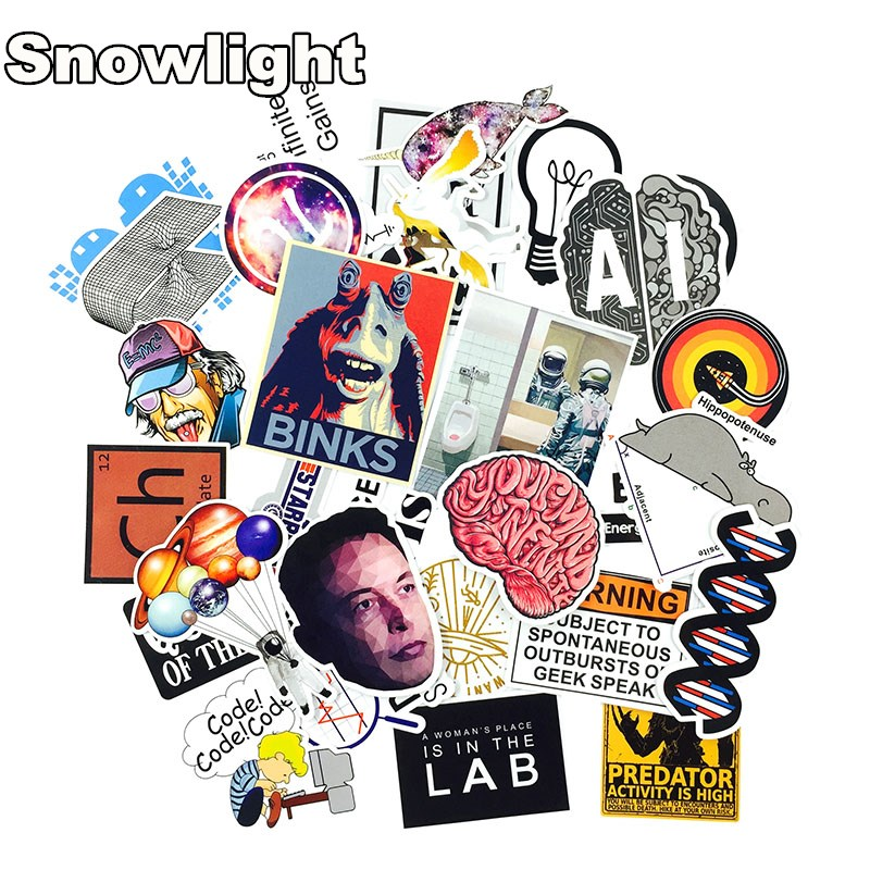 HOT 30 PCS Science Chemistry Lab Astronaut Stickers Blockchain Code Brain Scientists Funny Stickers For Child Gift Decor Luggage