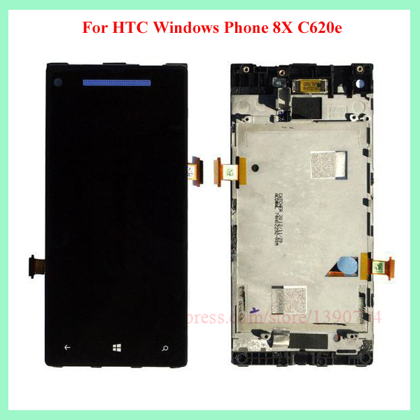 ФОТО Best Working Blue For HTC 8X LCD touch screen with digitizer Assembly + Bezel Frame Free shipping !!!