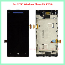 Best Working Blue For HTC 8X LCD touch screen with digitizer Assembly + Bezel Frame Free shipping !!!