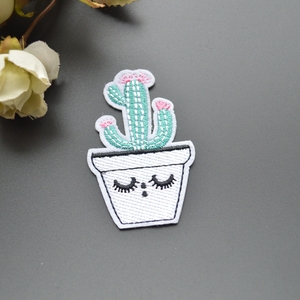 free shipping 4.5*7cm smile cacti patches iron on patches patches for clothing full Embroidered Patches 10 pieces/lot