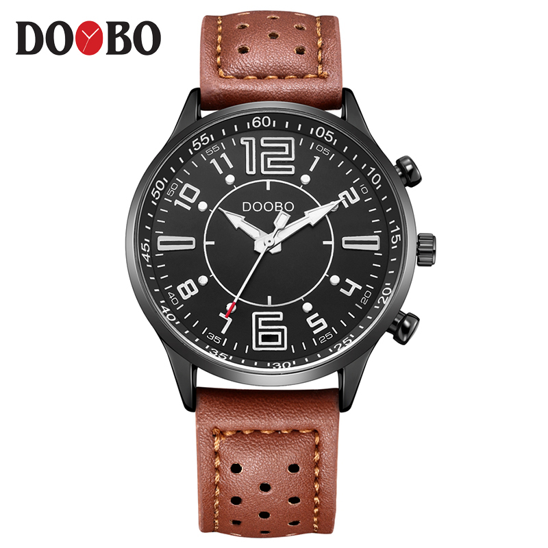 2017 DOOBO Mens Watches Top Brand Luxury Men's Quartz Watch Waterproof Sport Military Watches Men Leather saat relogio masculino mens watches top brand luxury doobo military sport wristwatch leather hollow quartz watch relogio masculino montre homme watch