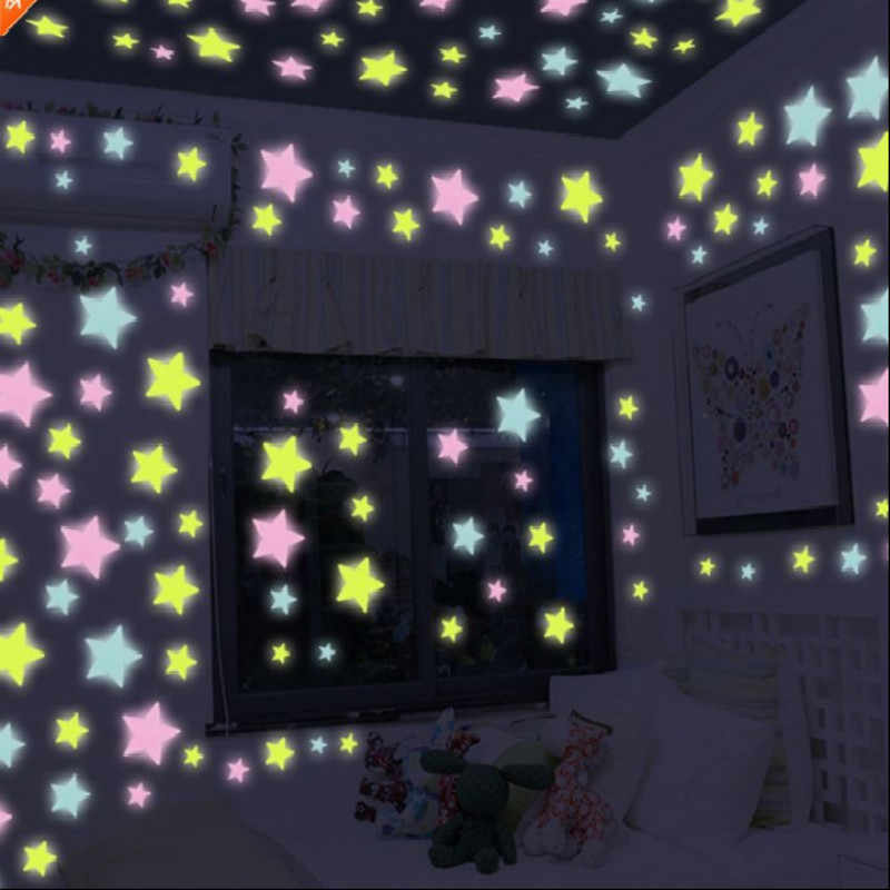 100 pçs/saco Brinquedos 3 centímetros Luminosa Brilham no Escuro Adesivo Estrela Quarto Sofá Brinquedo Pintura Fluorescente Adesivos de PVC para sala de crianças