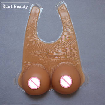 1 Pair 1600g EE Cup Tan fake breast forms 100% silicon breasts artificial Boobs Tits faux seins transvestite drag queen gestante