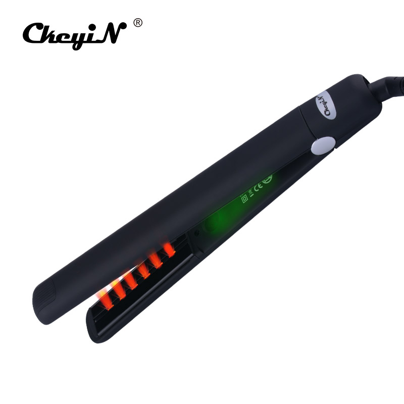 Far Infrared Negative Ions Flat Iron Tourmaline Ceramic 3D Floating Plate Professional Hair Straightener Straightening Irons LED