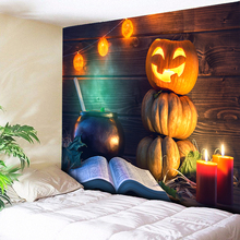 Bible Pumpkin Decorative Halloween Tapestry Wall Hanging 3D Printed Wood Home Decor Tapestries Living Room Bedroom Couch Blanket