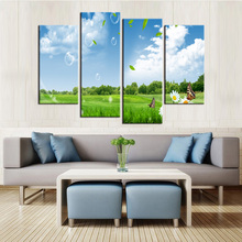 Free shipping Canvas Printings Beautiful rural scenery 4Piece Modern Style Cheap Pictures Decorative Wall Art Framed Prints Gift