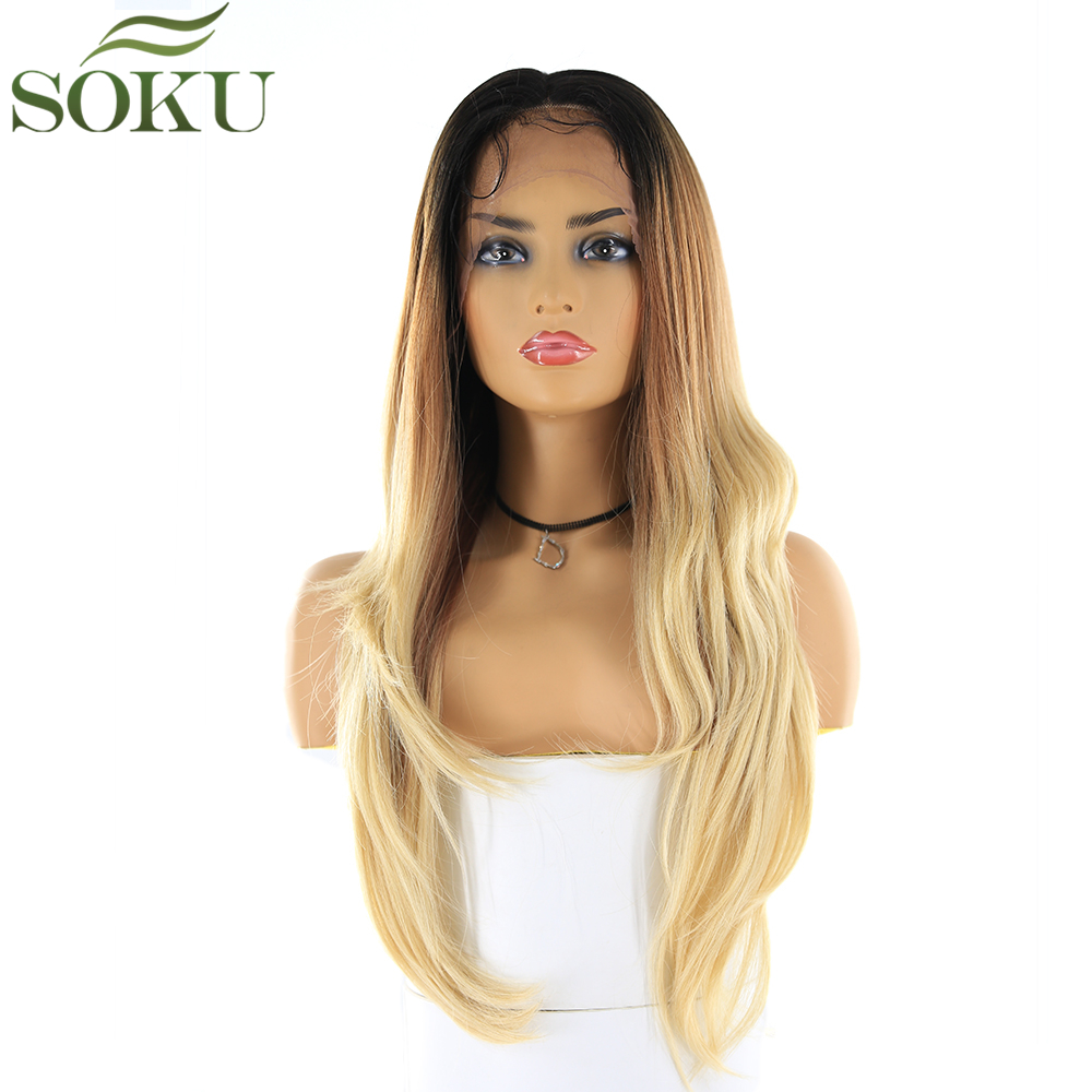 SOKU Synthetic Free Part 13*4 Lace Front Wigs 26 Inch Straight Wig 150% Density Dark Root Brown Blonde Color Wig For Women