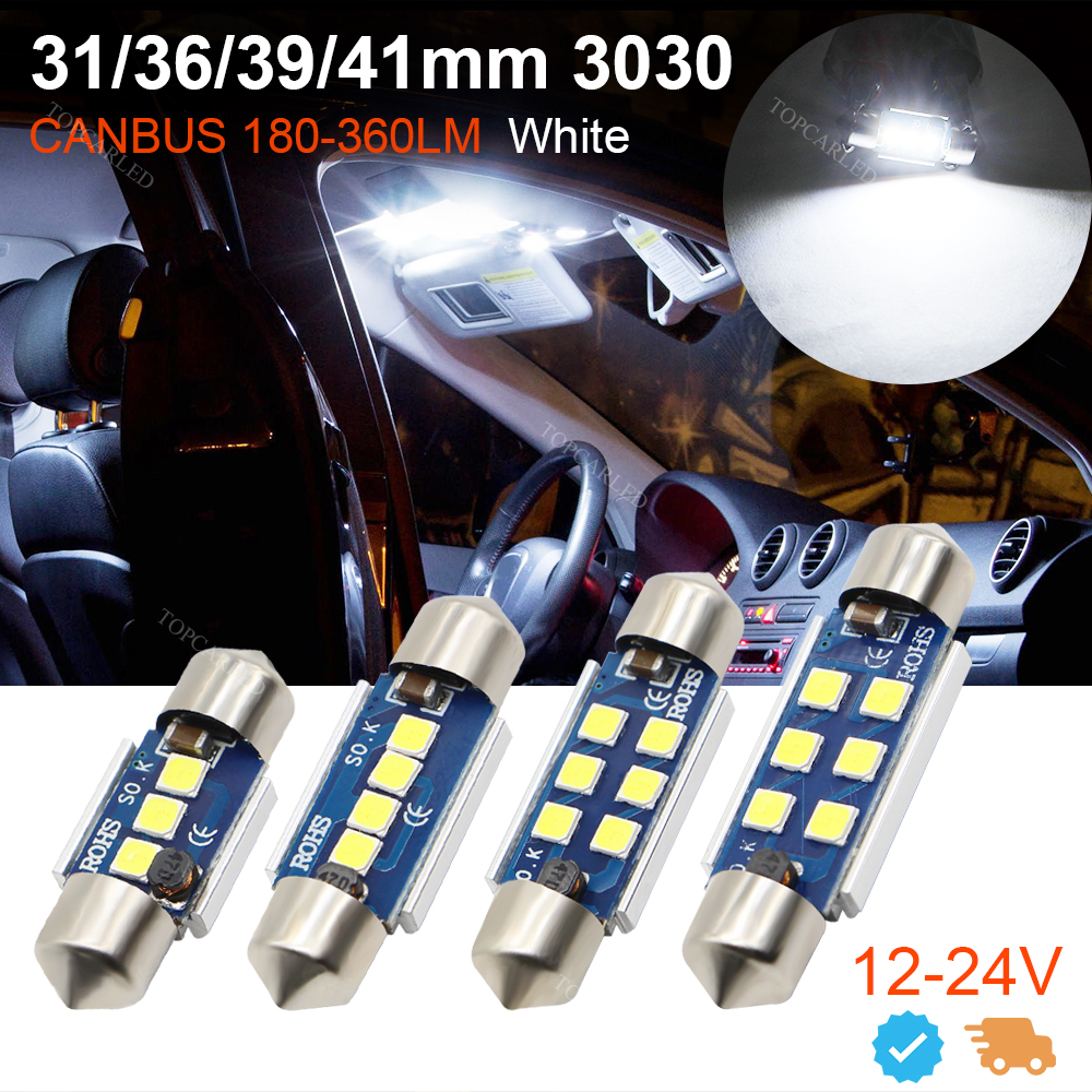 4pcs Canbus Error Free Car Led 31mm 36mm 39mm 41mm 3030 SMD 3175 6411 C5W C10W Interior External Auto Light Lamp Bulb 12v 24v high quality 31mm 36mm 39mm 42mm c5w c10w super bright 3030smd car led festoon light canbus error free interior doom lamp bulb