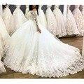 Роскошные кружевные свадебные платья Casamento с объемным цветком  с длинными рукавами  с вырезом лодочкой  пушистые Бальные платья для свадьбы ...