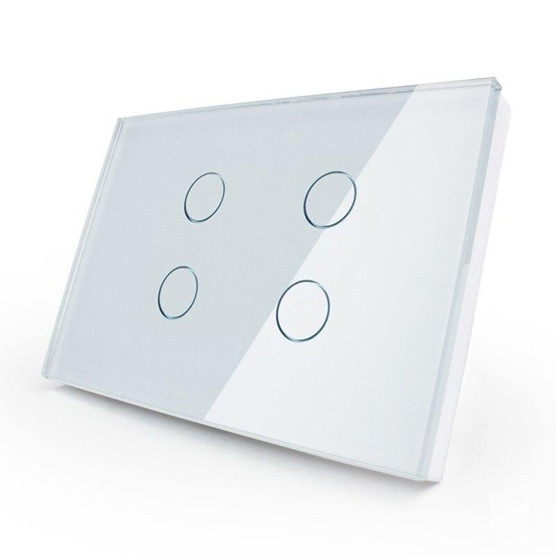 Fabricant, 2017 commutateur tactile, norme US, OS-004-81, panneau en verre cristal, interrupteur tactile de lumière murale + indicateur LED