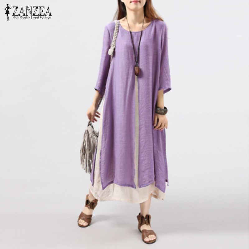 ZANZEA Women Dress 2019 Autumn Vintage Cotton Linen Dress Casual Loose Long  Dresses Plus Size Vestidos Plus Size S-5XL